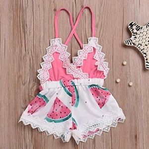 Other - Girls Watermelon Print Lace Trim Backless Romper